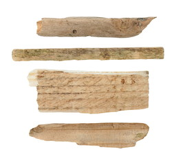 old pieces of broken planks of beech isolated on white