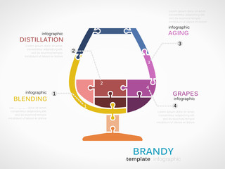 Brandy concept infographic template with glass