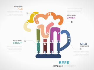 Beer concept infographic template with pint