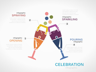 Celebration concept infographic template with glasses