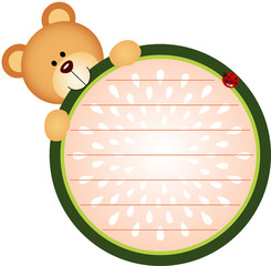 Label with Teddy Bear Eating Watermelon
