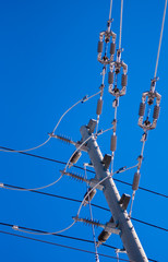 Junction of power lines and insulators on pole.