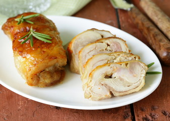 baked chicken roulade with garlic and rosemary