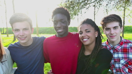 Multiracial Teen Group Embraced Outdoor