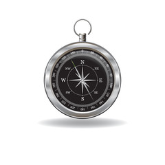 Silver Compass with windrose
