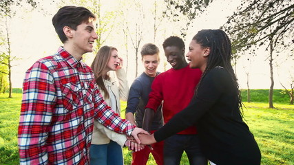 Multiracial Teen Group, Teamwork concept