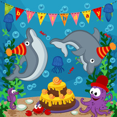 birthday marine animals - vector  illustration, eps