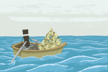 Boat Full of Money. A person carries a lot of money in a rowboat