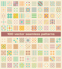 100 tiled different retro vector seamless patterns