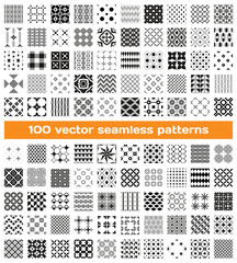 100 tiled different monochrome vector seamless patterns
