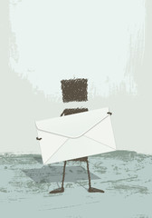 Illustration of a person standing, holding a large envelope