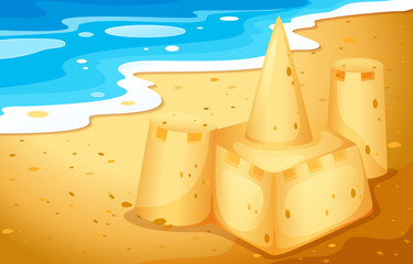 A sand castle at the beach