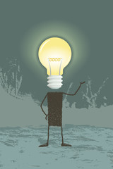 Bright idea. Illustration of a person, whose head is a lightbulb