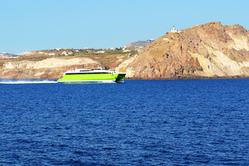The speed ferry going from Santorini island, Greece