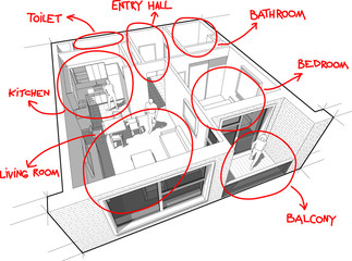 Apartment diagram with hand drawn notes