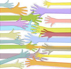 Colorful hands reach out