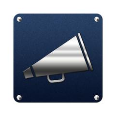 Icone en tissu et argent : mégaphone