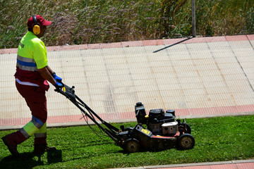 jardinero empujando una maquina cortacesped