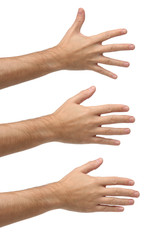 Three open hands on different positions. Isolated