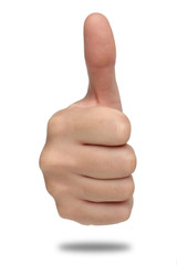 Male hand sign with thumb up. Isolated concept