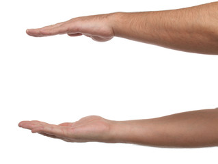 Two male hands with space to put something. Isolated