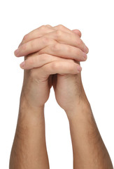 Two praying hands isolated on white background