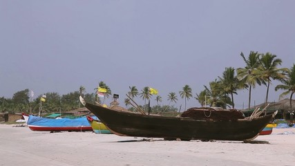 South Goa, boat on the beach