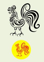 Rooster, art vector decoration