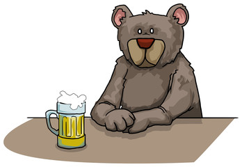 Bear drinking beer
