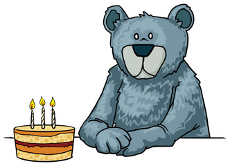 Blue Bear with a birthday cake