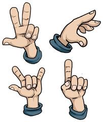 Set of cartoon hand signs