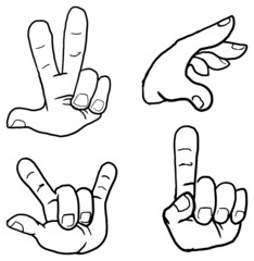 Set of cartoon hand signs