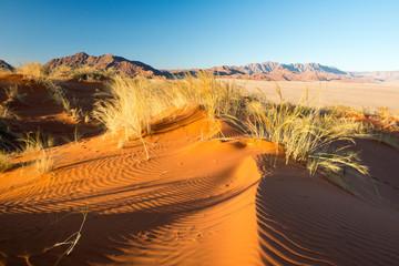 Coucher de soleil sur la dune Elim en Namibie