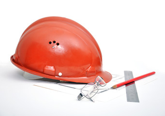 hard hat with blueprints