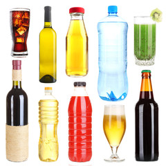 Collage of different  drinks isolated on white