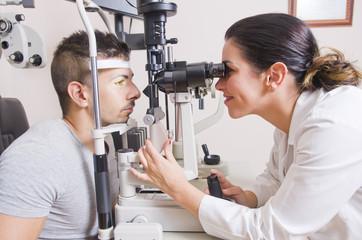 Optical lab, professional woman.