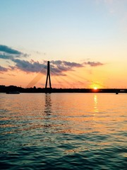 sunset over daugava river riga latvia