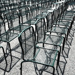 rows of green wire chairs