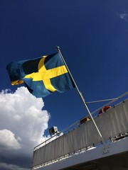 swedish flag on ferry boat