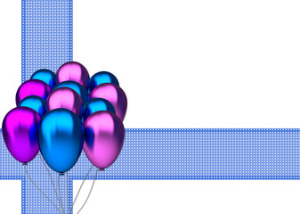 birthday card with blue and purble party balloons