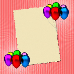 birthday greeting card with colorful balloons