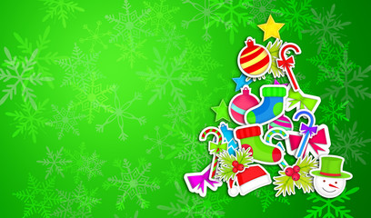 Tree Christmas Made By Ornament Art Paper Green Background