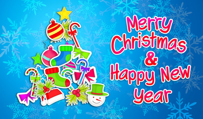 Merry Christmas Happy New Year Ornament  Paper Blue Background