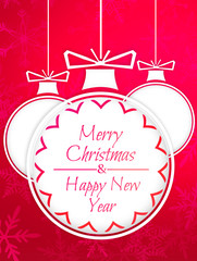 Simple Bauble Merry Christmas Happy New Year Red Background