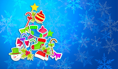 Tree Christmas Made By Ornament Art Paper Blue Background