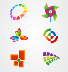 Collection colorful logo symbol icon vector