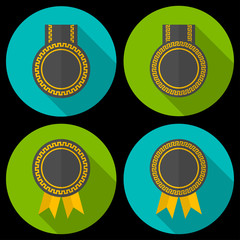 Award or badge with ribbons and decoration.