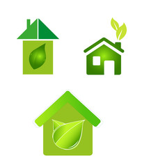 green eco houses home logo icon