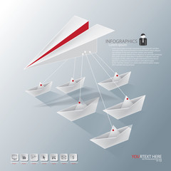 leader paper plane with boat
