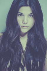 Portrait of a beautiful young woman long hair